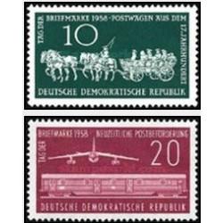 2 عدد تمبر روز تمبر - جمهوری دموکراتیک آلمان 1958