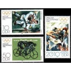 3 عدد تمبر بازیهای المپیک مسکو - جمهوری دموکراتیک آلمان 1980