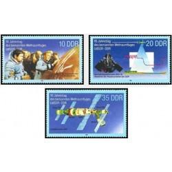 3 عدد تمبر دهمین سالگرد همکاری آلمان شرقی با شوروی در سفرهای فضا - جمهوری دموکراتیک آلمان 1988