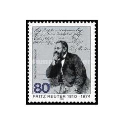 1 عدد تمبر 175مین سالگرد تولد فریتز رویتر - نویسنده - جمهوری فدرال آلمان 1985