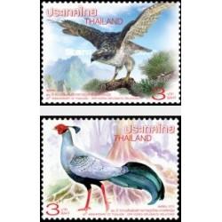 2 عدد تمبر پرندگان - تمبر مشترک با کره شمالی - 40مین سال روابط دیپلماتیک - تایلند 2015