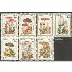 7 عدد تمبر قارچها - لائوس 1985