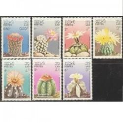 7 عدد تمبر گلهای کاکتوس - لائوس 1986