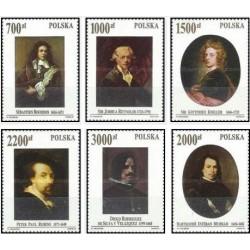 6 عدد تمبر شاهکارهای مجموعه ای بنام پاپ ژان پل دوم در ورشو - تابلو نقاشی  - لهستان 1992