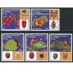 5 عدد تمبر گلهای کاکتوس - کنگو 1989