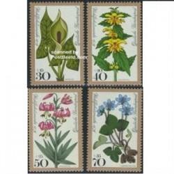 4 عدد تمبر رفاه - گلها - آلمان 1978