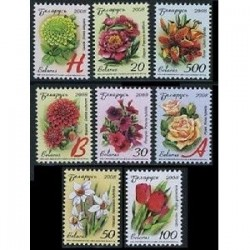 8 عدد تمبر گلها - بلاروس 2008