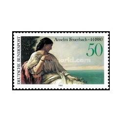 1 عدد تمبر صدمین سالگرد مرگ آنسلم فوئر باخ - نقاش - تابلو نقاشی - جمهوری فدرال آلمان 1980