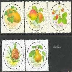 5 عدد تمبر معطر میوه ها - روسیه 2003
