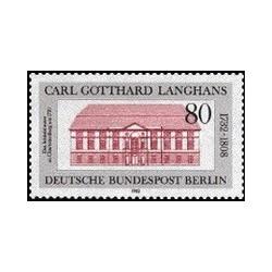 1 عدد تمبر 250مین سالگرد تولد کارل گوتهارد لانگانس - معمار- برلین آلمان 1982