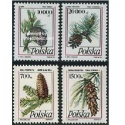 4 عدد تمبر سری پستی درختان - لهستان 91-1993
