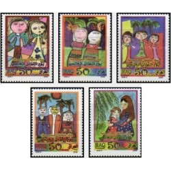 5 عدد تمبر روز جهانی کودک - تابلو نقاشی - عراق 2009