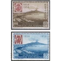 2 عدد تمبر صدمین سالگرد تمبر ناپل - سان مارینو 1958