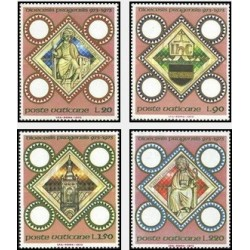 4 عدد تمبر 1000مین سالگرد اسقف لاتین در پراگ - واتیکان 1973