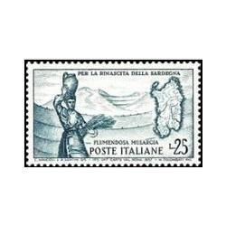 1 عدد تمبر اتمام فلومندوزا - سیستم آبیاری مولارگیا - ایتالیا 1958
