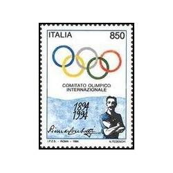 1 عدد تمبر صدمین سالگرد کمیته بین المللی المپیک - ایتالیا 1994