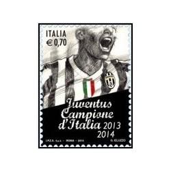 1 عدد تمبر فوتبال - یوونتوس ، قهرمانی ایتالیا 2013 - 2014 - ایتالیا 2014