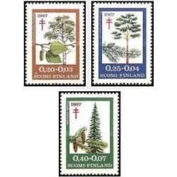 3 عدد تمبر پیشگیری از بیماری سل - درختان - فنلاند 1967