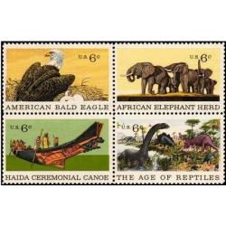 4 عدد تمبر صدمین سالگرد موزه طبیعی تاریخ آمریکا ، نیویورک - آمریکا 1970