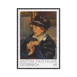1 عدد تمبر نقاشی - زن کلاه سیاه پوش از آنتون فیشر ، 1887 - 1930 - اتریش 2015