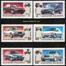 6 عدد تمبر اتومبیل ها - بلغارستان 1992