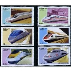 6 عدد تمبر قطار سریع السیر - کوبا 2009