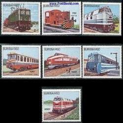 7 عدد تمبر لوکوموتیوها - بوکینا فاسو 1985