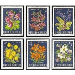 6 عدد تمبر گلهای آلپ - اتریش 1966