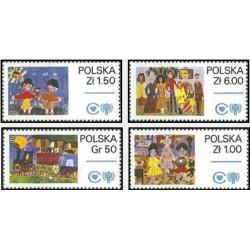 4 عدد تمبر روز جهانی کودک - نقاشی - لهستان 1979