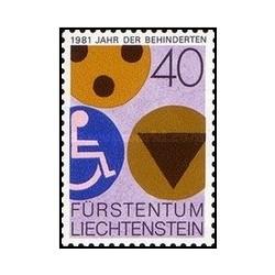 1 عدد تمبر سال بین المللی معلولین - لیختنشتاین 1981