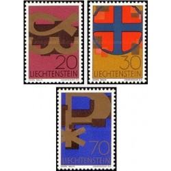 3 عدد تمبر نمادها - لیختنشتاین 1967