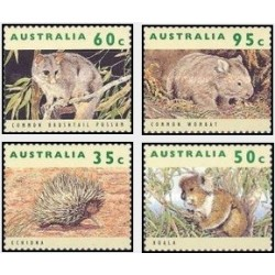 4 عدد تمبر حیوانات در معرض انقراض - استرالیا 1992