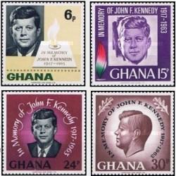 4 عدد تمبر دومین سالگرد مرگ رئیس جمهور کندی - غنا 1965