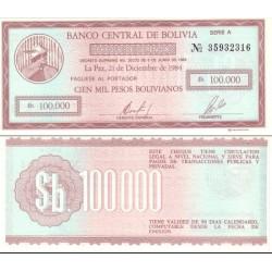 چک در گردش  100000 پزو بولیوانوس - بولیوی 1984
