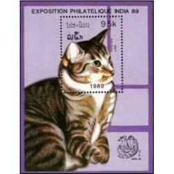سونیرشیت نمایشگاه بین المللی تمبر هند - دهلی نو  - تصویر گربه - لائوس 1989