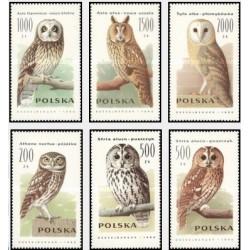 6 عدد تمبر جغدها - لهستان 1990
