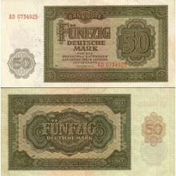 اسکناس 1 مارک - آلمان 1948 سریال دو حرفی - بسیار عالی در حد بانکی