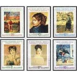 6 عدد تمبر تابلو نقاشی امپرسیونیست - بلغارستان 1991