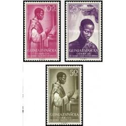 3 عدد تمبر صدمین سال حکومت پاپ بر فرناندو پو  - گینه اسپانیا 1955