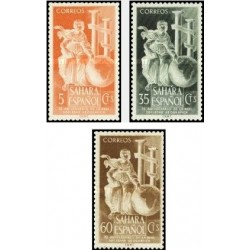 3 عدد تمبر 75مین سالگرد تاسیس انجمن جغرافیایی سلطنتی - اسپانیا صحرا 1953