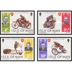 4 عدد تمبر برندگان رقابتهای موتور سواری TT جزیره من - جزیره من 1974