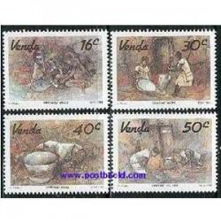 4 عدد تمبر تابلو نقاشی - وندا - آفریقای جنوبی 1988