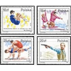 4 عدد تمبر ورزشکاران لهستانی موفق در رقابتهای جهانی سال 86 - لهستان 1987
