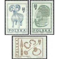3 عدد تمبر باستانشناسی  - لهستان 1966