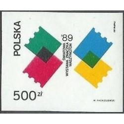 1 عدد تمبر نمایشگاه بین المللی تمبر واشنگتن - یادبود اتحادیه جهانی پست - بیدندانه - لهستان 1989