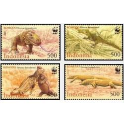 4 عدد تمبر گونه های در معرض انقراض - اژدهای کومودو - WWF - اندونزی 2000