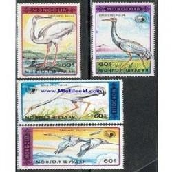 4 عدد تمبر پرندگان آبزی - مغولستان 1990
