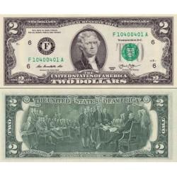 اسکناس 2 دلار - آمریکا 2013 سری F ریچموند - مهر سبز