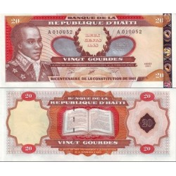 اسکناس 20گوردس - هائیتی 2001 با زواید حروف سریال