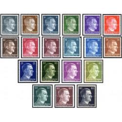 19 عدد تمبر هیتلر - سری پستی - رایش آلمان 1941 الی 45 با شارنیه